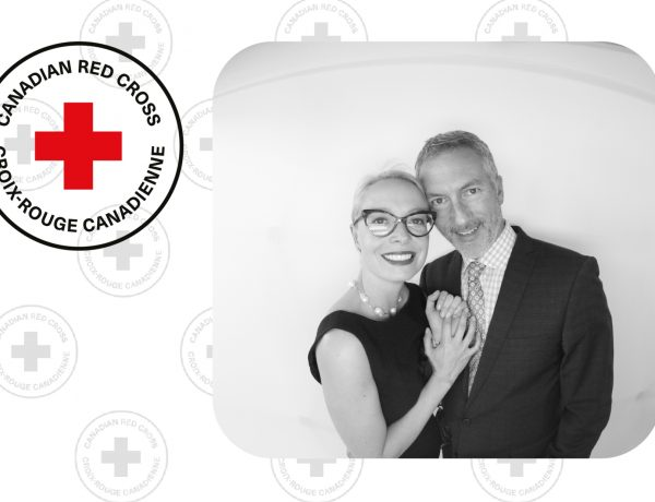 photobooth pictures of a couple with the canadian red cross logo integrated